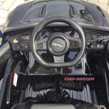 Электромобиль Jaguar F-Type черный (резиновые колеса, кожа, пульт, музыка, ГЛЯНЦЕВАЯ ПОКРАСКА)