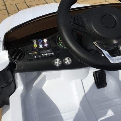Электромобиль Мерседес Б111ОС белый (резиновые колеса, кожа, пульт, музыка)