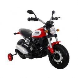 Детский мотоцикл Qike Чоппер красный - QK-307 красный (колеса резина, кресло кожа, ручка газа)